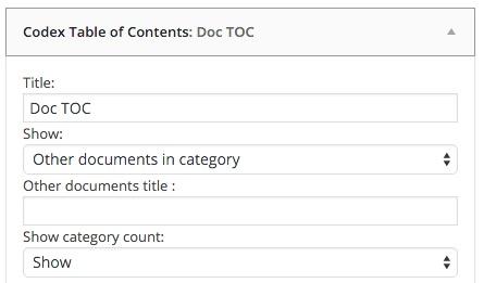 Codex table of contents widget